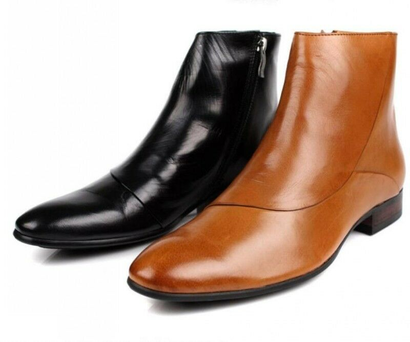 New Real leather Mens Ankle boots Formal Dress shoes Zip Up brown or Black US8