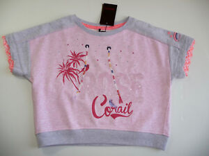 CATIMINI-PULL-SWEAT-ROSE-MANCHES-3-4-8-ANS-NEUF