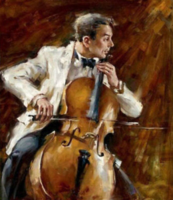 CHOP700 hand painted black dress girl playing violin oil painting art  canvas