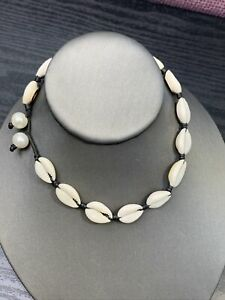 Vintage-White-Shell-Freshwater-Pearl-Beaded-Choker-Necklace-14-Loop-Clasp