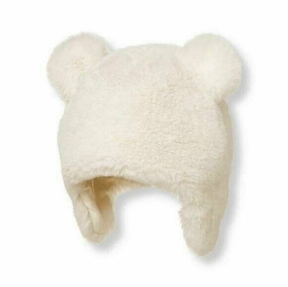Size 0 to 3 Months Ivory Janie and Jack Infant Baby Faux Fur Hat with Ears