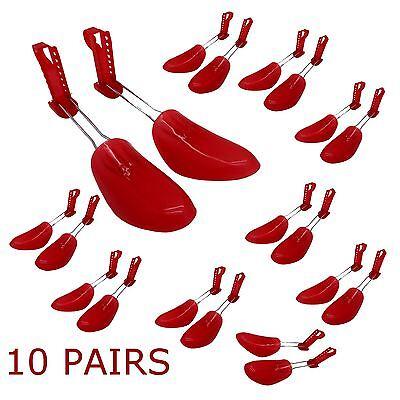 10 X Scarpa Di Plastica Albero Barella Scarpe Shaper Forme Regolabile 5-10 Uk Da Donna-