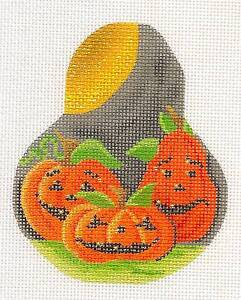 Pumpkin Patch ~ 3 Pumpkins on Pear & STITCH GUIDE HP Needlepoint Canvas K. Clark