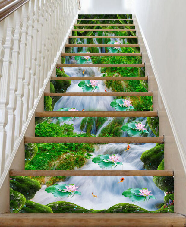 3D Rivulet Lotus 78 Stair Risers Decoration Photo Mural Vinyl Decal Wallpaper CA