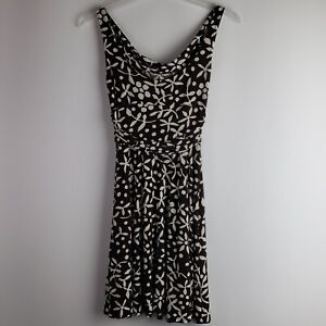 MAGGY-LONDON-Women-s-Brown-White-Floral-Fit-amp-Flare-Knit-Dress-Sz-10