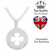 Cut Out Clover Disc Pendant Personalised Engraved Name Necklace Charm Jewellery