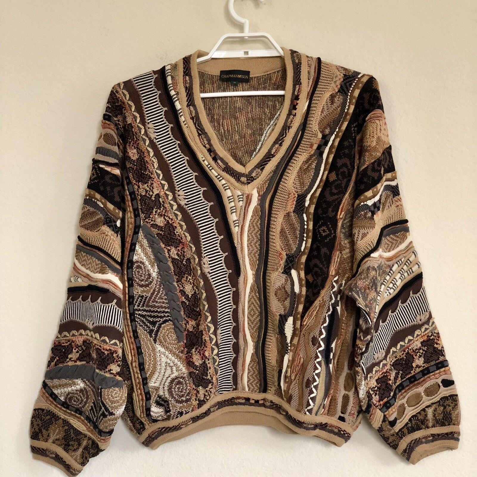 Vintage 90s Men's Cosby Biggie Look Mercerized Cotton Braun Sweater
