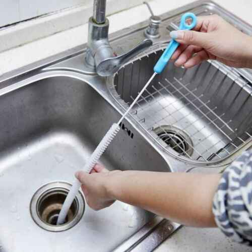 Bendable Kitchen Sewer Cleaning Snake Brush Sink Tub Toilet Dredge Cleaner Pipe