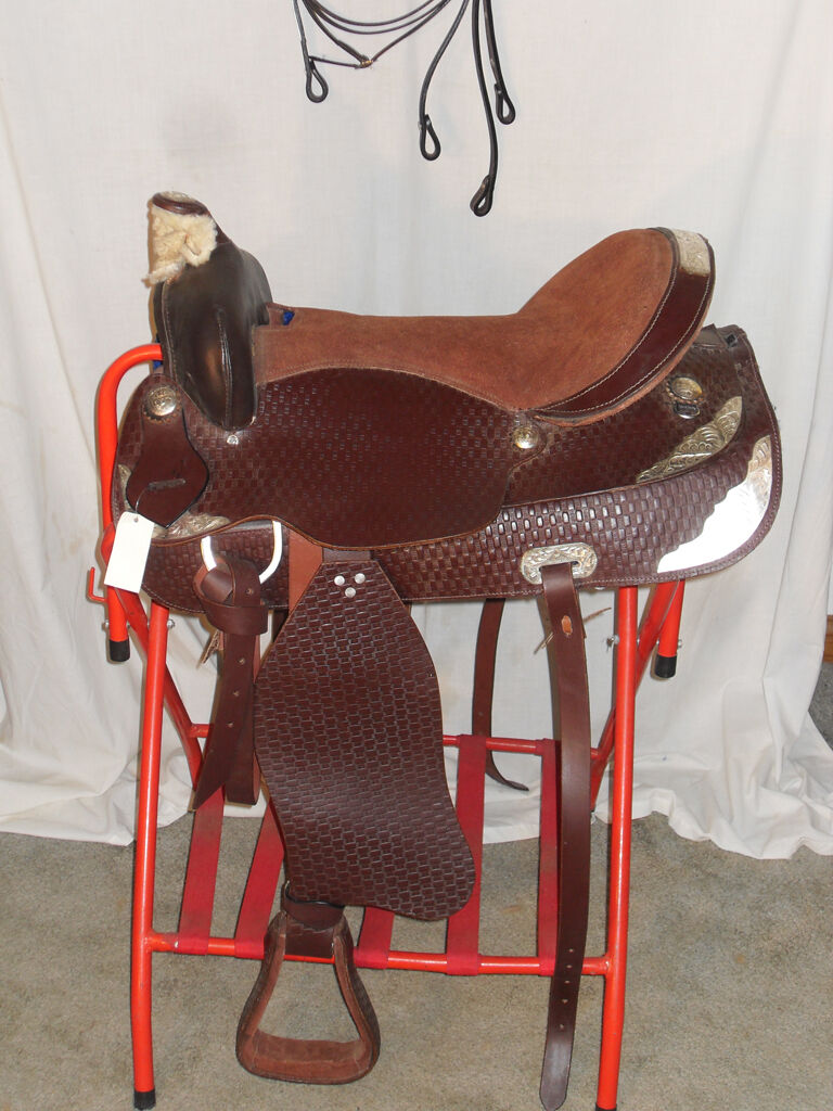 NEW 161 2  BROWN  LEATHER WESTERN SHOW SADDLE AND BRIDLE W REINS DOUBLE SKIRT  save up to 30-50% off