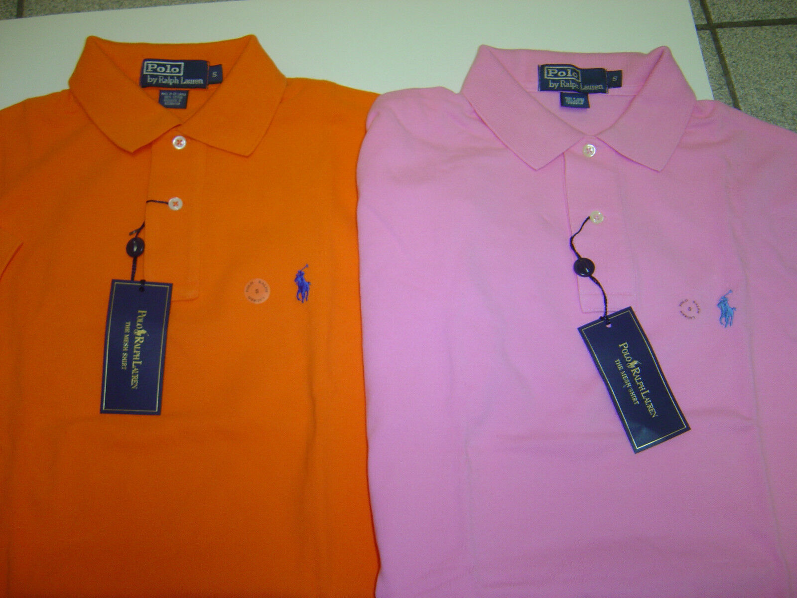 2 MENS RALPH LAUREN BRIGHT orange & PINK MESH S S POLOS SIZE S