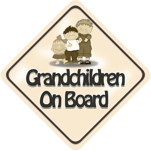Unpersonalised 3 Grandchildren Baby On Board Car Sign