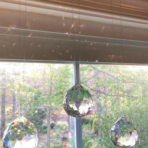 10PCS Clear Crystal Glass Chandelier Light Ball Lamp Prisms Drop Pendant 20MM