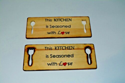 Home Decor Plaques Signs Home Decor New Handmade Wooden Kitchen Sign This Kitchen Is Seasoned With Love 11 5 X 4 5