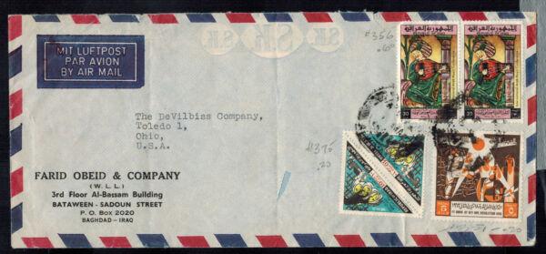 Bus -1176 ** L'irak C1966 Colorful Air Mail Publicité Cover * Bagdad à Toledo, Oh Us CoûT ModéRé