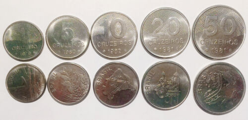 BRAZIL 1 50 Cruzeiros 1980-1985 AU- UNC 20 Set of 5 Coins Lot 10 5