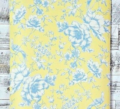 Historical Victorian Peacock Wallpaper Bird Floral Yellow gray Blue white flower