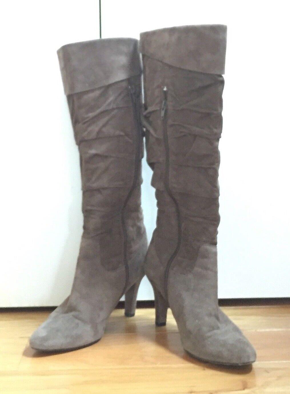 Vaneli Grey Suede Ruched Boots High Heeled