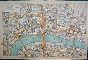 1912 Ca LARGE MAPBACON CENTRAL LONDON9 INCHES1 MILE eBay