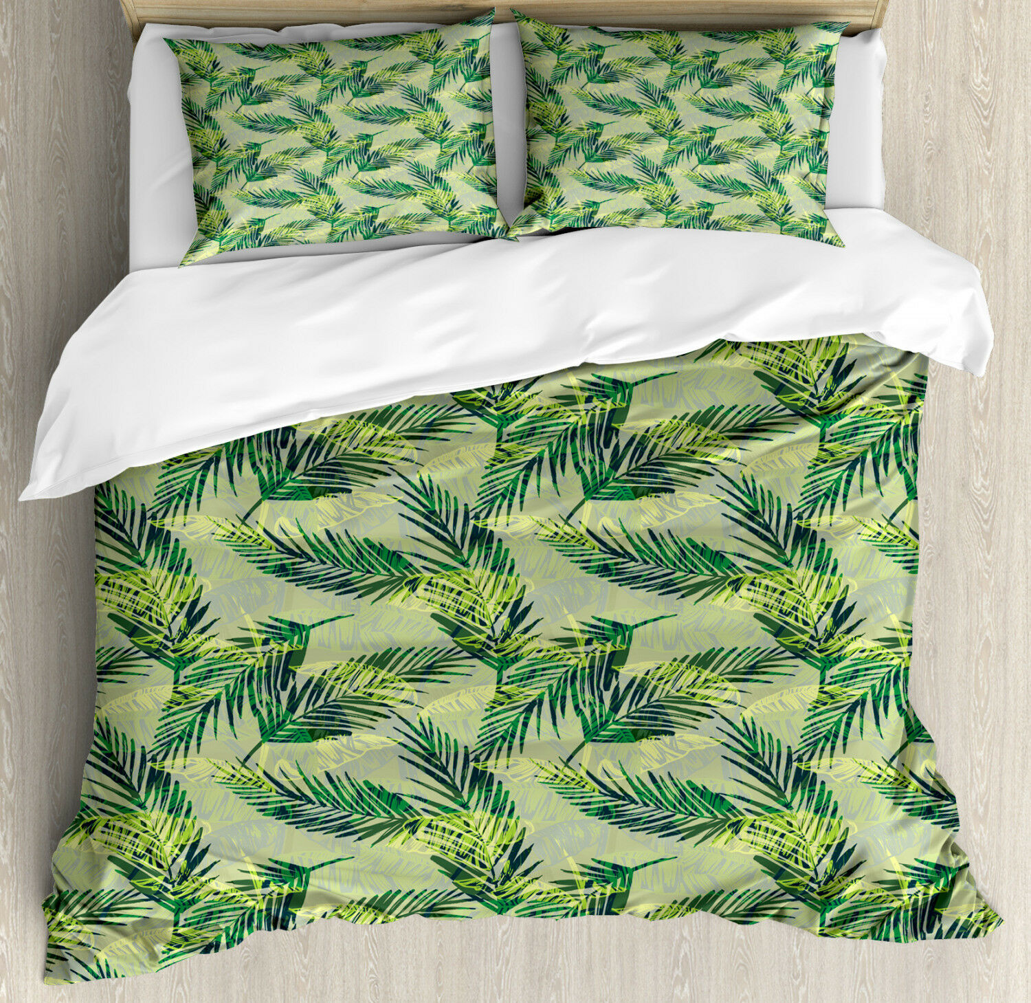 Palm Leaf Duvet Cover Set with Pillow Shams Rainforest Foliage Print