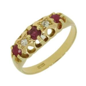 18ct-Gold-Ruby-amp-Diamond-Vintage-Ring-CH774
