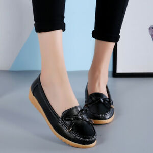 Women-039-s-Flat-Loafers-Slip-On-Leather-shoes-Casual-Moccasins-Comfort-Driving