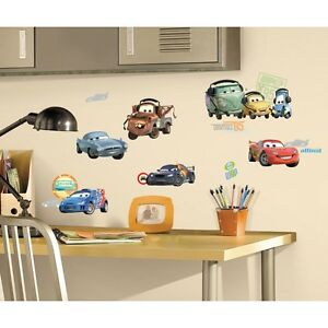 CARS-2-MOVIE-WALL-DECALS-Big-New-Lightning-McQueen-Mater-Stickers-Bedroom-Decor