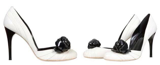 Karen Millen White Leather Black pink Heels Uk 4