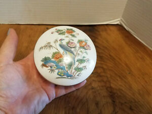 Round Ceramic Lidded Trinket Pot Decorated With Peacocks