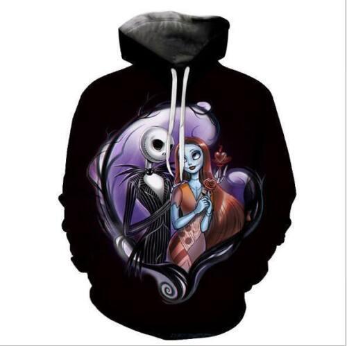 Nightmare before Christmas Jack /& Sally printed Pullover Pocket hoodie M-6XL