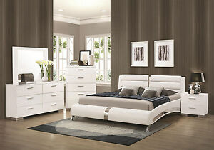 STANTON-Ultra Modern 5pcs Glossy White King Size Platform Bedroom ...
