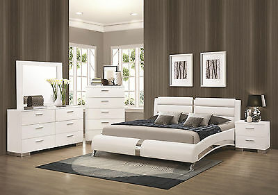 DAHLIA-ULTRA MODERN 5pcs GLOSSY WHITE QUEEN KING PLATFORM BEDROOM SET FURNITURE