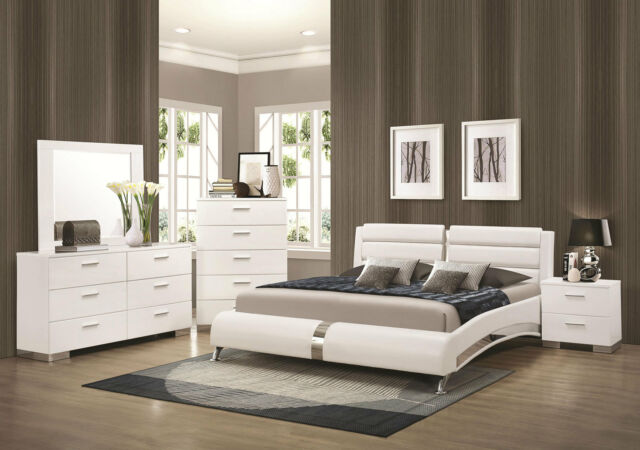 STANTON Ultra Modern 5pcs Glossy White King Size Platform Bedroom Set Furniture