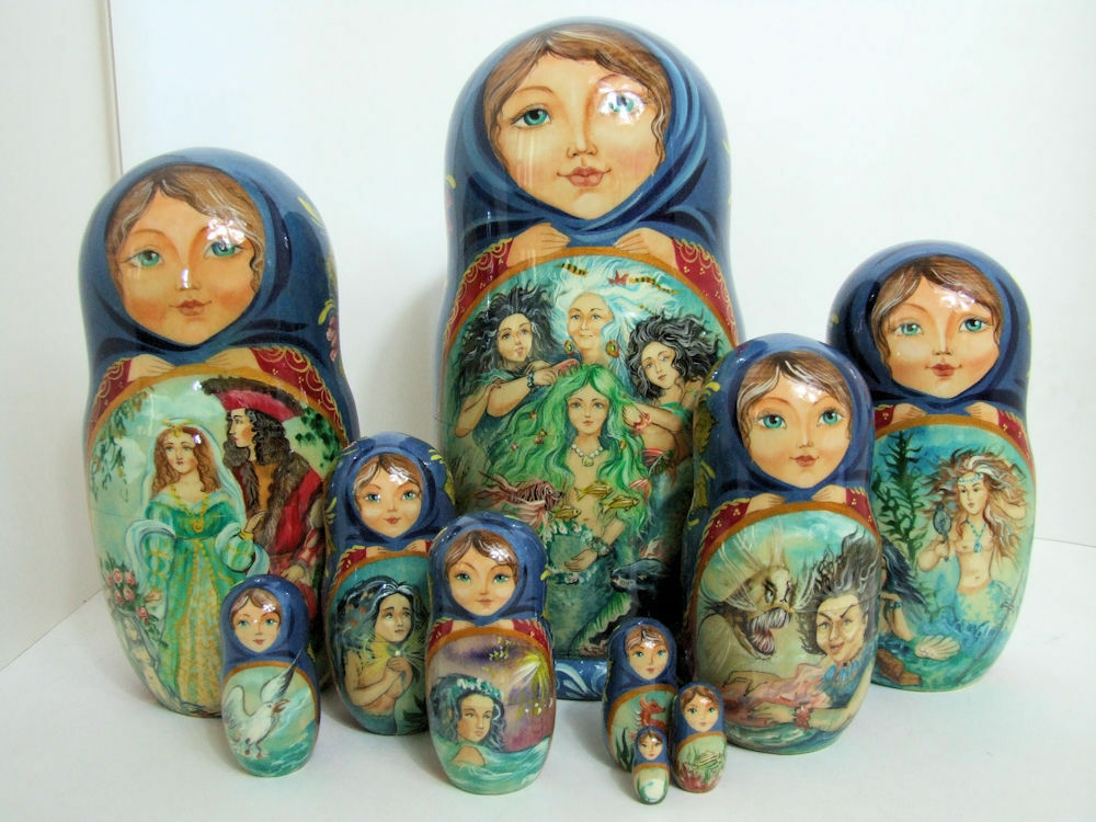One Of a Kind 10pcs Rusas Matrioska Muñeca  Sirenita  por Frolova