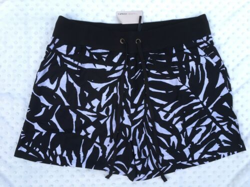 New Capsule Black Linen Blend Printed Slouch Shorts Sizes 18-30 Beach Summer