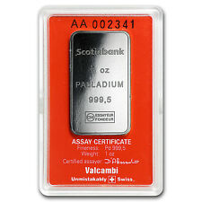 1 oz Palladium Bar - Scotiabank (.999+ Fine, In Assay) - SKU #92546