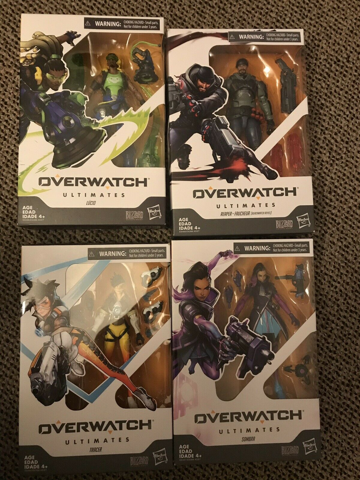 Hasbro Overwatch 6 cifra Lot Of 4 Reaper Tracer Sombra Lucio nuovo In He