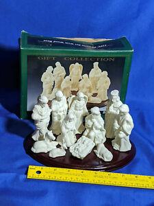 11pc-Nativity-Set-w-Wood-Base-Scene-Gift-Collection-VTG-Box-Bisque-Porcelain