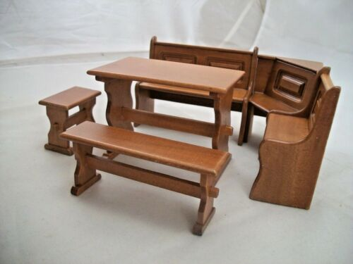 Dining Nook Set w// Trestle /& Benches dollhouse wooden furniture 1//12 scale T6834