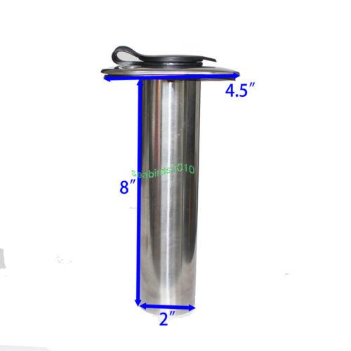 2 pcs 0 Degree Flush Mount Fishing Rod Holder Stainless Steel Gasket Cap