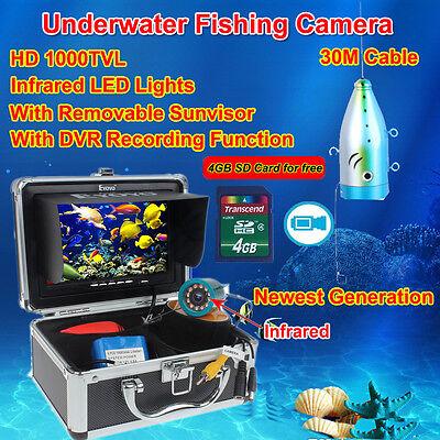 """Eyoyo 30m Fisch Finder Infrarot 1000TVL Kamera 7/"""" Unterwasser Fishing Camera"""
