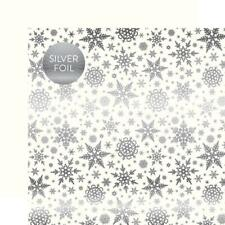 "12x12/"" silver foil s//sided paper Carta Bella Xmas Holiday Sentiments GREEN"
