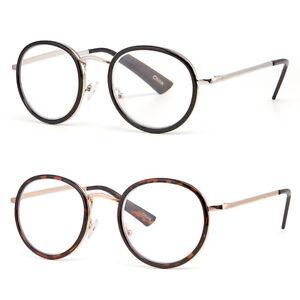 97f59d4e45 New Vintage Clear Lens Round Reading Glasses Gold Black Metal Frame ...
