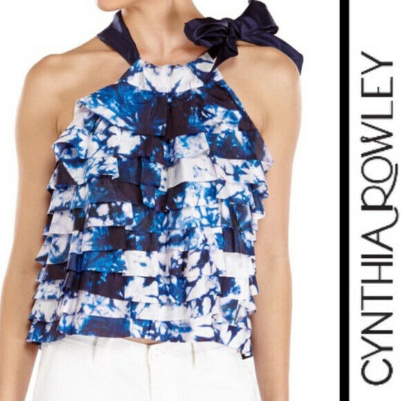 CYNTHIA ROWLEY Layered Silk Side Tie Top S NWT  'Space Dye' bluee White