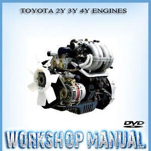 toyota 2y 3y 4y engines workshop repair service manual in disc ebay rh ebay com au Toyota Corolla 5A Engine Turbo Toyota 22R 2.4 Engine