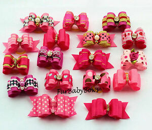 20-Dif-Pink-amp-Hot-Pink-Girl-Yorkie-Dog-Grooming-Pet-Puppy-bow-ShihTzu-Biewer