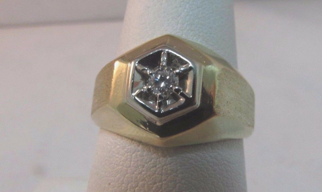 14K Solid Gold Solitaire Diamond Ring-Size 7. Uni… - image 1