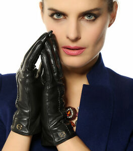 Womens-Cashmere-lined-GENUINE-Nappa-leather-WINTER-Super-WARM-gloves