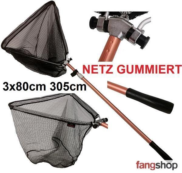 Teleskop Raubfischkescher gummiertes Netz 305cm Länge Kescher Angelkescher Gummi