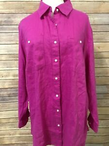 Ralph-Lauren-Womens-Purple-Pink-Top-2X-100-Linen-Button-Front-Long-Sleeve-New