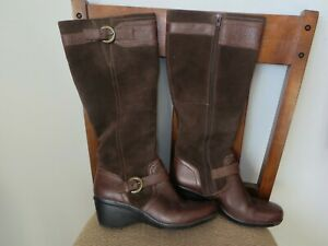 Clarks-Brown-Leather-Zip-Knee-High-Boots-Womens-Size-7-M